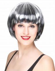 Peruk svart och vitt kort hår