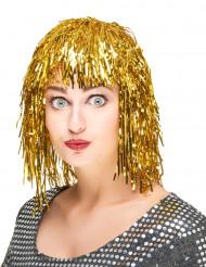 Peruk med guldfärgat glitter