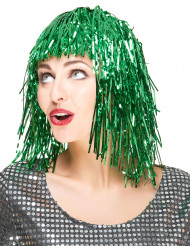 Peruk med grönfärgat glitter