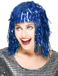 Peruk med blåfärgat glitter