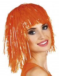 Peruk med orangefluo glitter