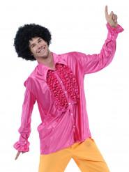 Rosa disckoskjorta med volanger för vuxna till maskeraden