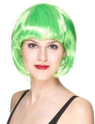 Peruk med kort hår neongrön