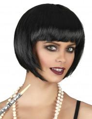 Peruk med kort hår som är svart