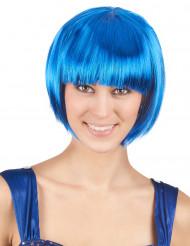 Peruk med kort hår i blått