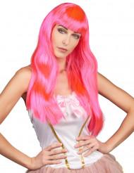 Peruk med långt rosa hår