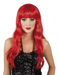 Peruk med långt hår i rött