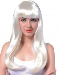 Peruk med långt vitt hår