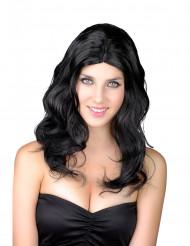 Peruk med långt hår i svart