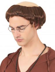 Munkkrans - Peruk med brunt hår för vuxna