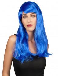 Peruk Långt hår Blå