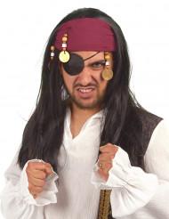 Pirat med långt hår och medaljonger - Peruk till temfesten