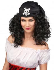 Lockig piratperuk med bandana