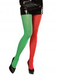 Tvåfärgade tights röd-grön