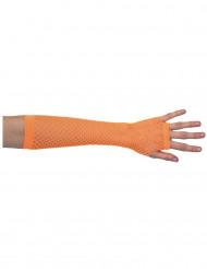 Långa orangea handskar i nät för vuxna till maskeraden