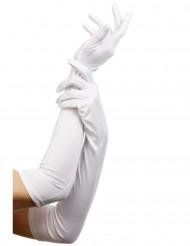 Långa vita aftonhandskar - Accessoarer till maskeraden