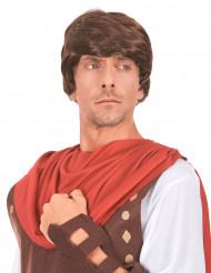 Brun mansperuk med romersk frisyr