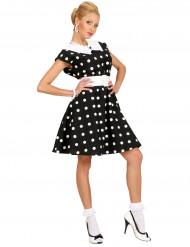 Svart klänning med prickar i 50-talsstil för maskeraden