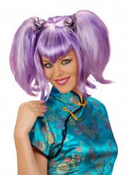 Violett mangaperuk för vuxna
