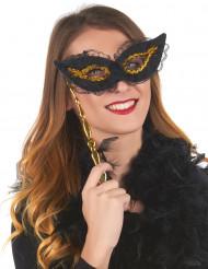 Ögonmask i svart och guld med spets och skaft vuxna