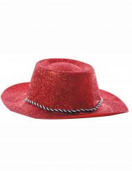 Röd cowgirlhatt med paljetter