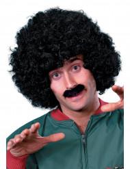 Svart peruk och mustasch herrar