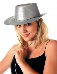 Silverfärgad cowgirlhatt med paljetter