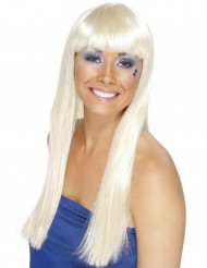 Glammiga Gaby - Blond lång peruk för vuxna