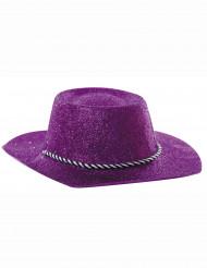 Lilaglittrig cowboyhatt