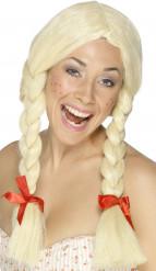 Blond peruk med flätor vuxen