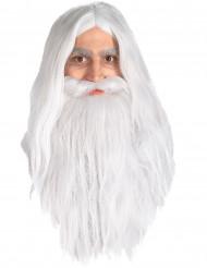 Gandalf peruk och skägg Sagan om ringen™ vuxen