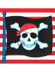 16 servetter med dödskalle flagga - Dekoration till piratkalaset