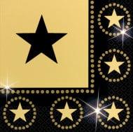 16 svarta och guldfärgade pappersservetter med stjärnor 33 x 33 cm