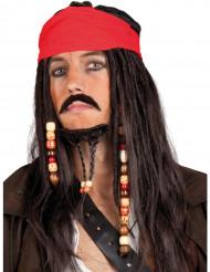 Piratpiruk med röd huvudscarf vuxen