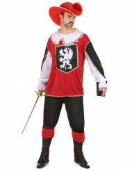 Röd och svart musketör - Maskeraddräkt för vuxna