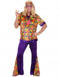 Färgstarka Frans - Hippiedräkt med blommor för vuxna