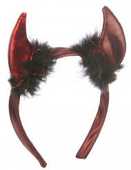 Djävulshorn med svart päls - Tillbehör för vuxna till Halloween