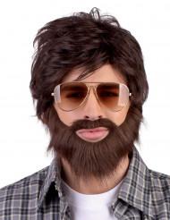 Dude peruk med skägg och mustasch vuxen