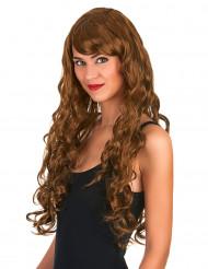 Lång glamoröa kastanjefärgad peruk med lockar för vuxna