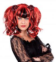 Gotisk peruk svart och röd