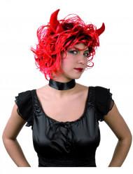 Djävul med horn - Peruk för vuxna till Halloween