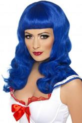 Peruk med långt blått hår