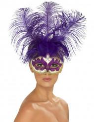 Mask från Venedig med lila fjädrar vuxen