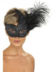 Svart mask med silvriga paljetter och fjädrar vuxen