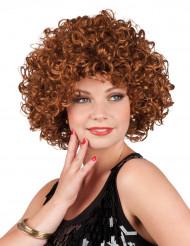 Lockig brun peruk