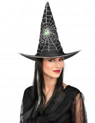 Peruk med svart och vit häxhatt för vuxna till Halloween
