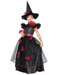 Häxdräkt med röda rosor - För barn till Halloween