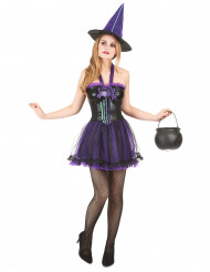 Lila häxdräkt för vuxna till Halloween