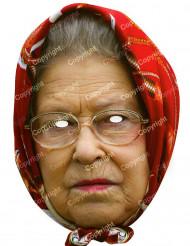 Kartongmask drottning Elisabeth med sjal