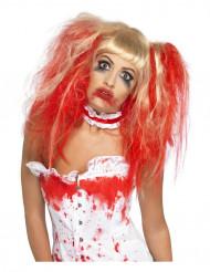 Blond peruk blodig till Halloween för vuxna